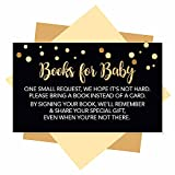 25 Books For Baby Shower Request Cards - Black & Gold Baby Shower Invitation Inserts, Book Request Baby Shower Guest Book Alternative, Bring A Book Instead Of A Card, Baby Shower Book Request