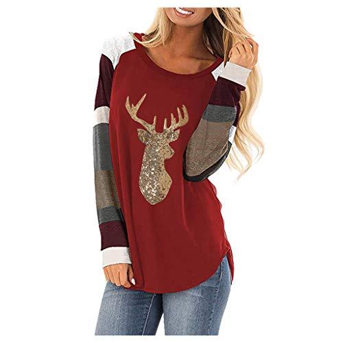 Womens Kerst Shirt Blouse, Dames Lange Mouw O-Hals Leuke Elk Hoofd Glitter Pailletten Streep Splicing Mouw O-Hals Jumper Tops