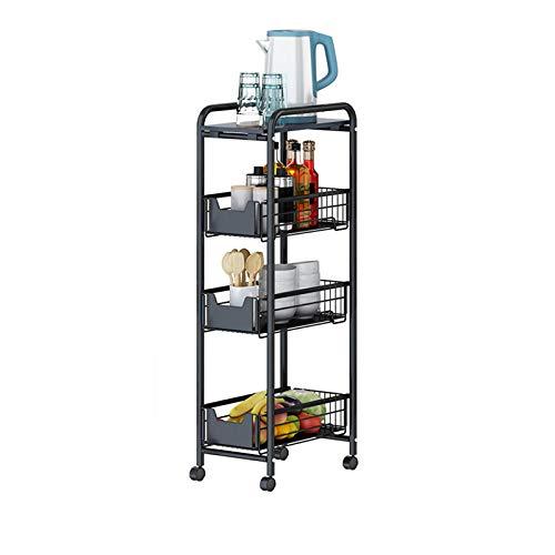 4-Tier Gap Kitchen Slim Slide Out Storage Tower Rack on Wheels