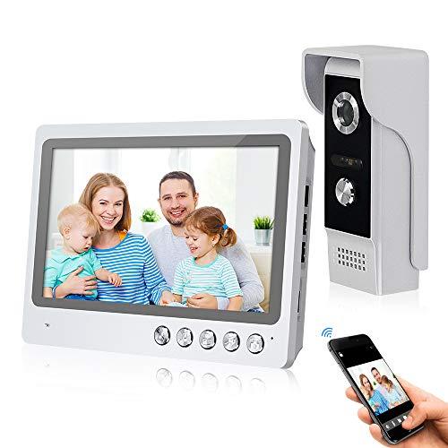 FTSTech Intercomunicador de Videoportero WiFi de 9pulgadas con Sistema de Cámara de 4 Cables 700TVL,Desbloqueo Remoto de Aplicaciones, Visión Nocturna,Grabación,Detección de Movimiento