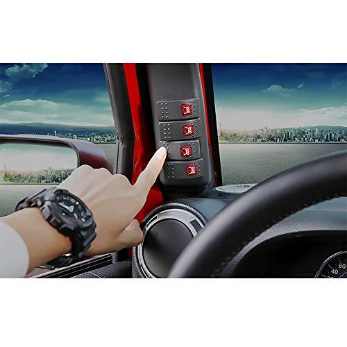 WXQYR 1 Set Accessori Auto per Jeep Wrangler JK JKU Rubicon Sahara 2011-2017 Interruttori combinati con Pannello interruttori a 4 Vie A pilastro con Luce a LED