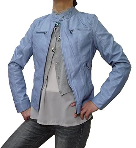 Chiodo - Chaqueta de piel sintética para mujer y niña azul celeste 38