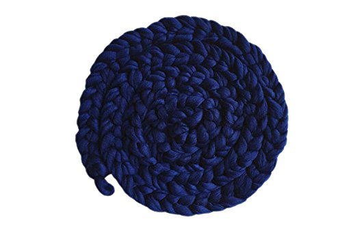 DELEY Bébé Fait Main en Crochet Braid Couverture Panier Trame de l'Envelopper de Costumes Unisexe la Photographie Prop Bleu Marine