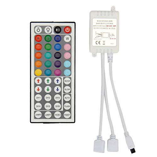 BZONE 2-Port 44 Keys Wireless IR Remote Control Dimmer for SMD 5050 3528 RGB LED Strip Lights, Dual 4-pin Output Remote Controller for 2pcs RGB LED Strips DC12-24V