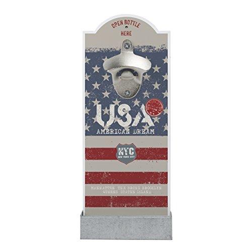 contento 866356 Décapsuleur Mural avec Motif Drapeau USA, Plastique, Multicolore, 12 cm