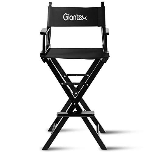 COSTWAY Regiestuhl schwarz, Make-up Chair faltbar, Klappstuhl Holz, Faltstuhl hoch, Campingstuhl