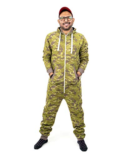 NOROZE Herren Onesie Mode Stilvoll Alle in Einem Overall Strampelanzug EIN Stück Pyjamas Jumpsuit Combinaison (L, Tarnung Khaki)