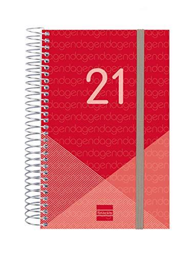 Finocam - Agenda 2021 1 Día página Espiral Year Rojo Español, Mediano - E5-117x181 mm