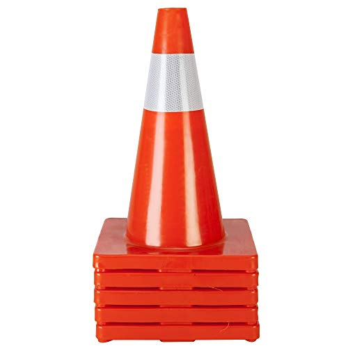 TUFFIOM 10Pcs Safety Traffic Cones, 18' Orange Slim Fluorescent Reflective Collars, Road Parking Field Marker Cones for Outdoor Activity & Festive Events Multipurpose