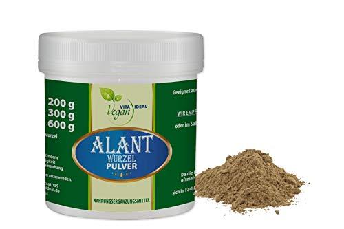 VITAIDEAL VEGAN® Alant-Wurzel Pulver (Inula Helenium) 100g inklusive Messlöffel, rein natürlich ohne Zusatzstoffe.