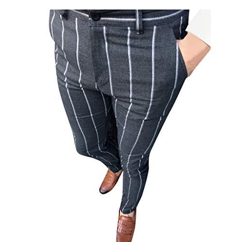 LANSKRLSP Hombres Pantalones de Trabajo Pantalón Business Slim Fit con Estampado de Rayas para Hombre Ropa de Hombres Casuales Talla Grande
