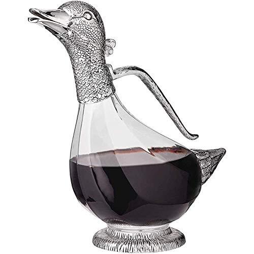 ZHJIUXING SF Bicchieri da Whisky Decanter Caraffa A Forma di Anatra, Set di Decanter per Liquori in Cristallo Originale per Bourbon, Scotch, Decanter Vino, Regalo di Vino Rosso, Silver, 1000ml