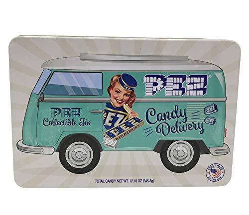 PEZ Candy Nostalgia lata de regalo (dispensador exclusivo + más de 40 recambios PEZ)
