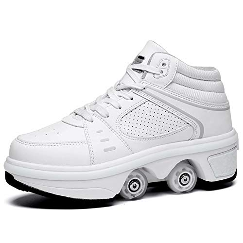 JRYⓇ LED Roller Skates - USB Rechargeable 2-en-1 Multi-Purpose Shoes, Invisible Wheel Sneakers, Boots Double-Row Deformation Shoes for Unisex Beginners Gift
