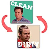 saizone Ron Swanson - Dishwasher Magnet Clean Dirty Sign Strongest Magnet Double Sided Flip with Magnetic Plate Universal Kitchen Dish Washer Reversible Indicator