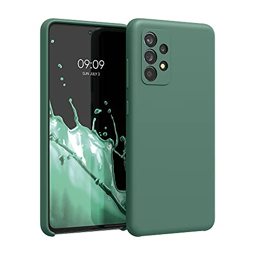 kwmobile Funda Compatible con Samsung Galaxy A52 - Funda Carcasa de TPU para móvil - Cover Trasero en Verde Bosque