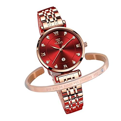 OLEVS 腕時計 レディース- 人気 うで時計 シンプル 見やすい 日本クオーツ カジュアル 日付 防水 ピンクゴールド 模造ダイヤ文字盤 彼女 プレゼント ギフト ワインレッド/赤