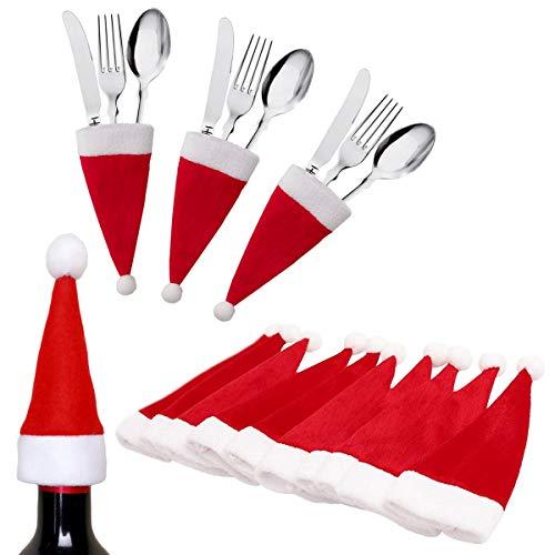 10 Pcs Small Santa Hats Wine Bottles Cover Christmas Mini Santa Hats Silverware Holders Xmas Party Dinner Table Dinnerware Decorations Supplies