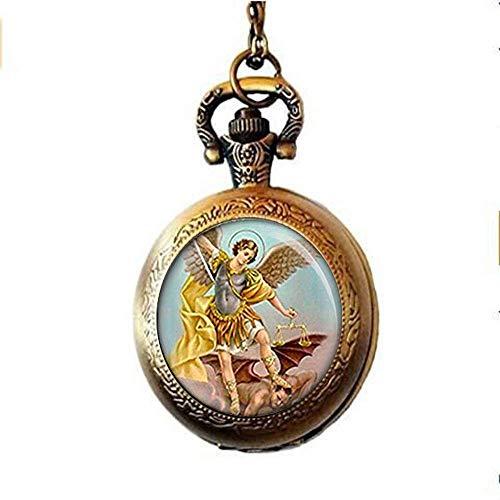 Collar de reloj de bolsillo con medalla católica para proteger el mal religioso, joyería de arte
