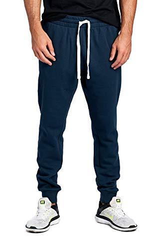 ProGo Men's Casual Jogger Sweatpants Basic Fleece Marled Jogger Pant Elastic Waist (Large, Navy (Slanted Pocket))