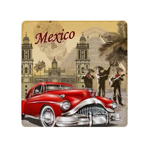 Cartel Retro de México (30) Cartel de cartel de pared de hojalata Cartel de pared de metal de hierro Decoración de pared de aluminio Placa de decoración Cafe Bar 30x30cm