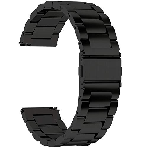 Fullmosa Quick Release Watch Band, Stainless Steel Watch Strap 16mm, 18mm,19mm,20mm,22mm or 24mm, 18mm Black