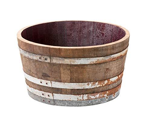 Holzfass, gebrauchtes Weinfass halbiert aus Eichenholz rustikal -als Pflanzkübel oder Miniteich (ohne Zubehör)