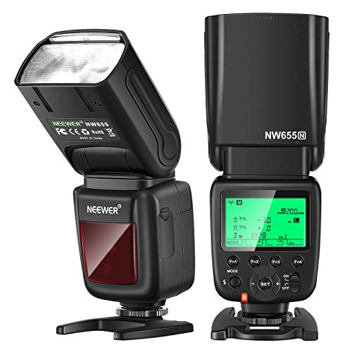 Neewer NW655-N 2.4G HSS 1/8000s TTL GN60 Wireless Master Slave Flash Speedlite Compatible with Nikon DSLR D810/D800/D750/D700/D610/D600/D7500/D7200/D7100/D7000/D5500/D5300/D90/D5/D4/Z7/Z6 Cameras