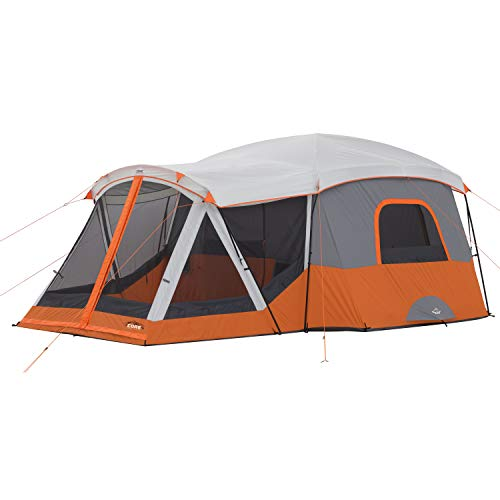 CORE 11 Person Family Cabin Tent with Screen Room (Orange)