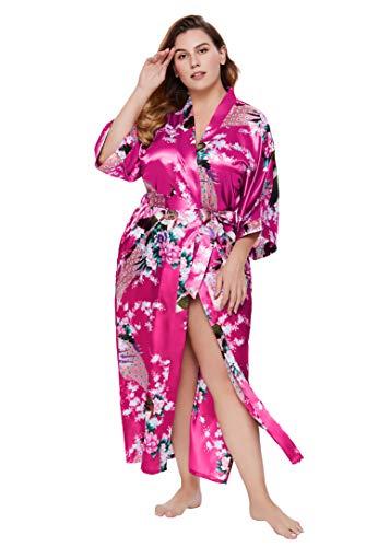 BABEYOND Damski szlafrok poranny, duże rozmiary, wzór pawia, kurtka z dzianiny, kimono, Plus size, długi szlafrok kąpielowy, sukienka plażowa, pan do spania, 1 różowy czerwony, jeden rozmiar