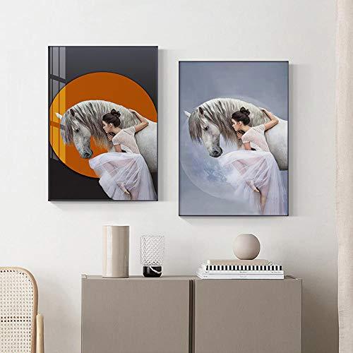 DASHBIG Póster de Pintura de Figuras Bailarina de Ballet de Belleza con Imagen de Caballo Decoración de Sala de Estar Pintura de Lienzo Moderna Cuadros de Arte de Pared | 50x70cmx2 Sin Marco