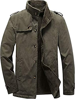 Vcansion Men's Winter Cotton Fleece Windproof Jacket Single Breasted Windbreakers Coats Army Green L