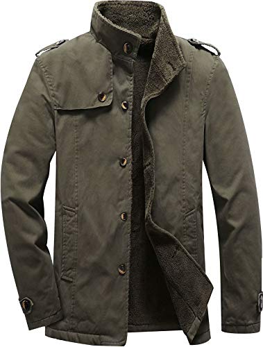 Vcansion Men's Winter Cotton Fleece Lined Jacket Single Breasted Outerwear Windbreakers Coats Army Green M