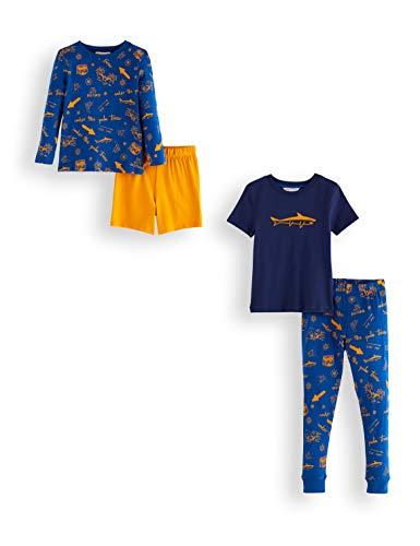 Amazon-Marke: RED WAGON Jungen Pyjama-Set aus Baumwolle, 2er-Pack, Mehrfarbig (Shark), 104, Label:4 Years