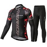 N/V D.Stil - Conjunto de ropa de ciclismo para hombre, camiseta de manga larga de forro polar con acolchado 3D, pantalones para bicicleta de montaña de carreras M-3XL (rojo, L)