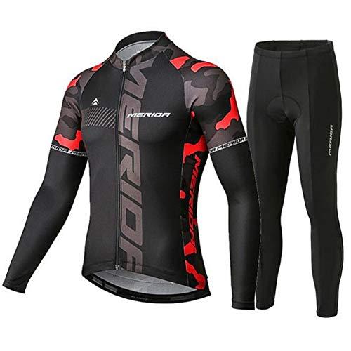 N/V D.Stil Herren Fahrradbekleidung Set Radtrikot Langarm Fleece mit 3D Polster Hosen für MTB Rennrad M-3XL (Rot, L)