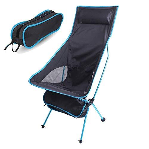 Silla de Camping al Aire Libre Plegable portátil Oxford Paño alargar el Asiento de Acampar para el Festival de Pesca Picnic BBQ Beach Silla Ultraligero (Color : Sky Blue)