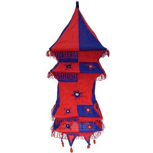 Abat-jour PAGODE tissu indien bleu et rouge lampion patchwork suspension luminaire Artisanat d'Inde Décoration