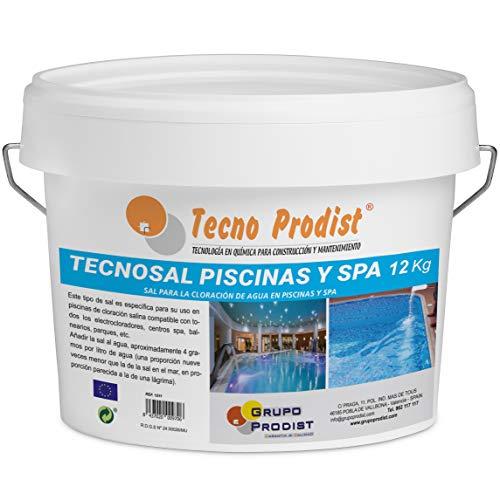 Tecno Prodist TECNOSAL Piscinas y SPA 12 kg - Sal Especial para la cloración Salina de Piscinas, SPA y Jacuzzis - En Cubo Fácil Aplicación
