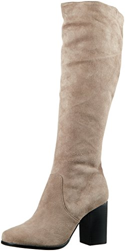 Buffalo London Damen 415-8882 Kid Suede Langschaft Stiefel, Grau (Taupe 01), 38 EU