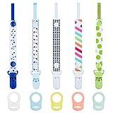 HBselect Schnullerband Schnullerkette Clip mit Baby Silikonring Adapter für Schnullerketten für Baby Junge Mädchen (10 pcs)