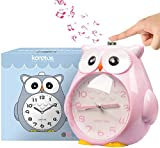 KOROTUS COLLECTION Owl Alarm Clock without Ticking,Bedroom Snooze Function Clock with Dim Yellow Night Light, Loud Alarm for Children, Battery Operated-Pink