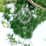 Hicarer 3D Metal Wind Spinner Stainless Steel Wind Chime with Sun Catcher Ball Spiral Tail Bird Metal Wind Spinner for Indoor Outdoor Garden Decoration (Dragonfly)