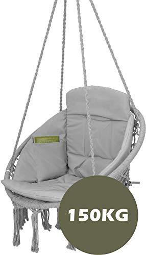 VITA5 Hängesessel mit Kissen, Bücherfach & Abdeckhaube - Hängestuhl für Erwachsene & Kinder -Belastbar bis 150 kg - Hängesessel Outdoor & Indoor (Wohn & Kinderzimmer, Garten) (Grau) - 5