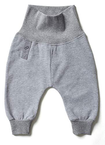 Smoob Iynn Pants - Pantalones de bebé para niño y niña - Ropa de bebé unisex / Pantalones para peluquería - 100% algodón con cintura alta gris 62 cm