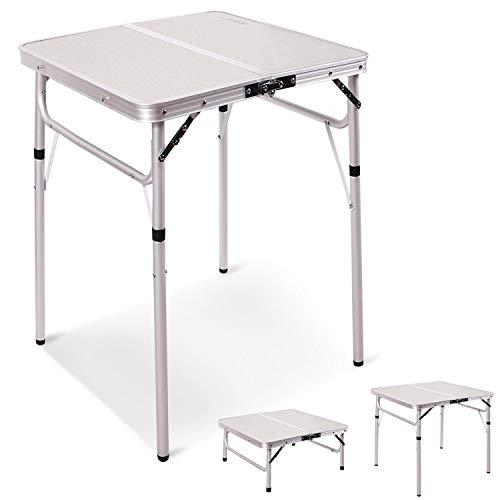 REDCAMP 折りたたみ テーブル アウトドア キャップ 高さ調節可能な脚付き 軽量 持ち運び アルミ製 コンパクト ピクニック ビーチテーブル 室内 屋外 60x60cm(2つの高さ)
