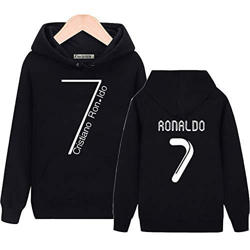 WYNBB Sweatshirt Kapuzenpulli C Ronaldo 7 CR7 Pullover Fleece Fußballverein Fan Hoody Geschenk für Fußballfans Liga Kapitän Herren Frühling Herbst,Black,S/165CM