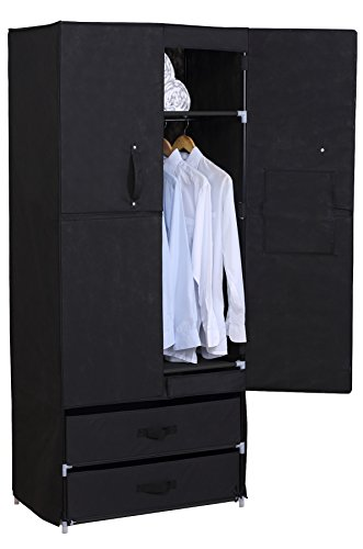 WOLTU Portable Clothes Closet Wardrobe with 2 drawer Clothes Storage with Heavy Duty Doors Cloth...