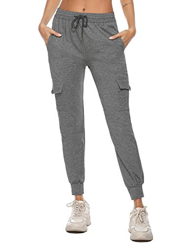 iClosam Damen Sporthose Freizeithose Jogginghose Hose Trainingshose Fitnesshose Sweathose Slim Fit Baumwolle mit Taschen und Verstellbarem Kordelzug
