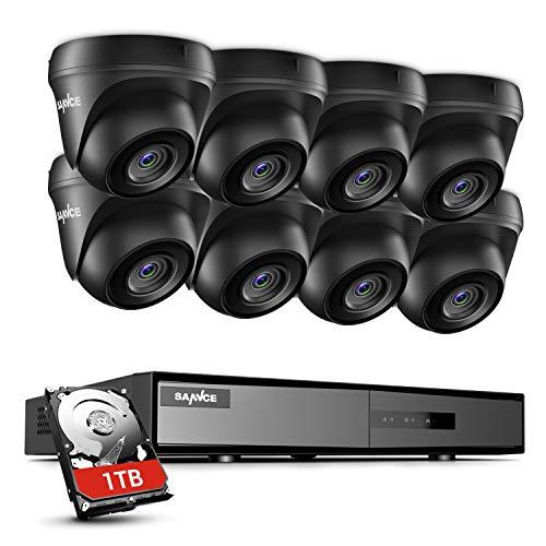 SANNCE Kit de Camara de Vigilancia 8CH DVR con 1TB Disco Duro Instalado + 8 1080P CCTV Cámaras Sistema de Seguridad Videovigilancia IP66 Impermeable Visión Nocturna - 1TB HDD